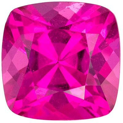 Very Fine Genuine Pink Tourmaline Loose Gem, 6.9 mm, Rich Hot Pink, Cushion Cut, 1.47 carats