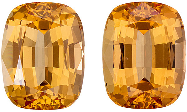 Very Fine Peachy Golden Topaz Well Matched Pair in Cushion Cut, 9.0 x 7.0 mm, 6.00 carats