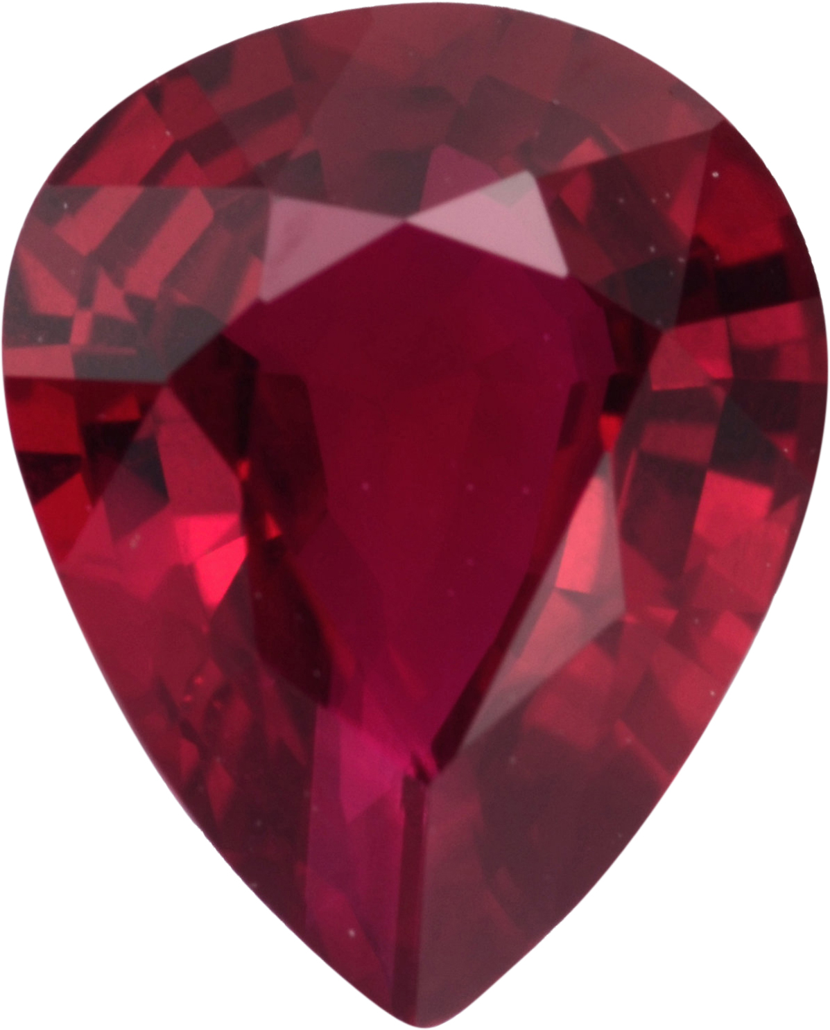 Very Fine Ruby Loose Gem in Pear Cut, Vibrant Purple Red, 7.38 x 5.92  mm, 1.05 Carats