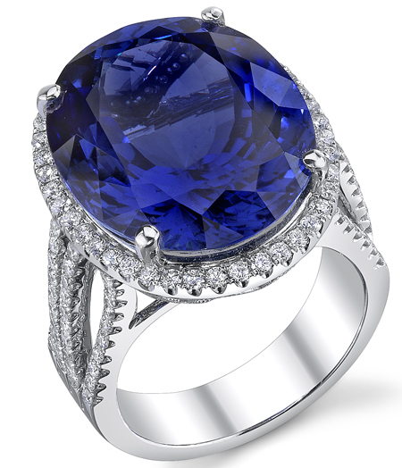Very Finest Color Massive GEM Tanzanite 25.62 cts set in Heavy Diamond Gold Ring - SOLD