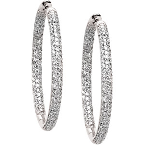 Very Glittery! - Detailed 1 3/4 ct tw 1.00 mm Diamond Hoop Earrings expertly set in 18 karat White Gold for SALE