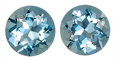 Very Impressive Pair of Gorgeous Blue Aquamarine Matched Gems Round Cut, 1.80 carats,