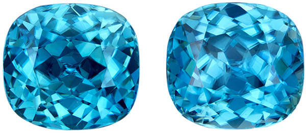 Very Impressive Zircon Matched Pair in Cushion Cut, Rich Blue Tinge of Teal, 8.1 x 7.6 mm, 8.14 carats