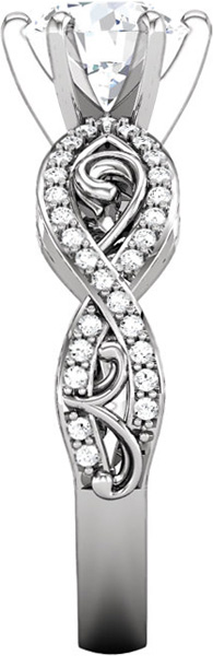 Very Pretty 1/4ctw Diamond Accented Infiniti Style Peg Preset Shank With Curved Detailing - 14kt Gold