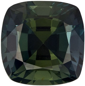 Very Pretty Blue Green Sapphire Loose Gem in Antique Square Cut, Vivid Blue Green, 6.9 x 6.9 mm, 2.11 carats