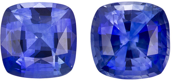 Very Pretty Blue Sapphire Matched Pair in Cushion Cut, Medium Blue Color in 4.8 mm, 1.16 carats