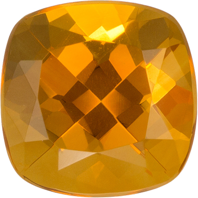 Very Pretty Citrine Loose Gem in Cushion Cut, Rich Golden Orange, 7 mm, 1.4 carats