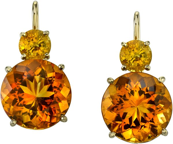 Very Pretty Gemstone Lever Back Earrings With Yellow Sapphires (2.27ctw) & Citrines (16.30ctw) - SOLD