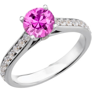 Very Pretty Genuine Fine Quality 1 carat 6mm Pink Sapphire Round Solitaire Engagement Ring With Inset Diamond Accents in Band