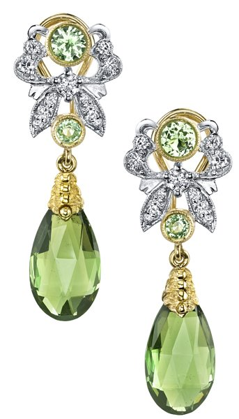 Very Pretty Green Tourmaline Briolette Dangle Earrings With Tsavorite Garnet & Diamond Accents - 18kt White & Yellow Gold