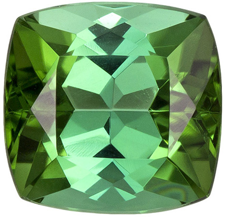 Very Pretty Green Tourmaline Gem in Cushion Cut Green Touch of Blue, 6.9 x 6.7 mm, 1.72 carats