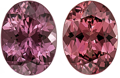 Very Pretty Rhodolite Well Matched Gem Pair in Oval Cut, 7.9 x 6 mm, Vivid Raspberry, 2.86 carats