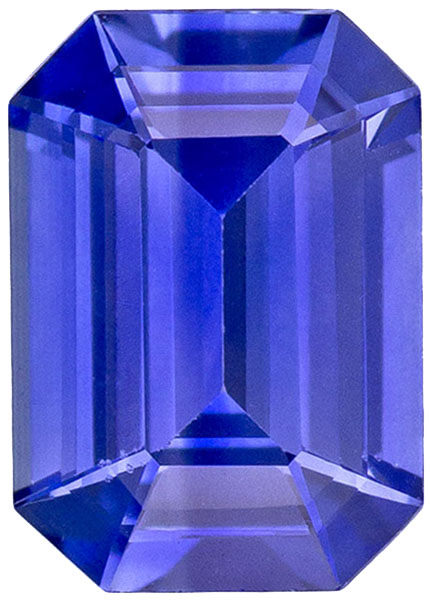 Very Pretty Sapphire Loose Gemstone in Emerald Cut, Vivid Medium Blue, 7 x 4.9 mm, 0.95 carats