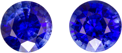 Very Special Gem 1.19 carats Sapphire Loose Genuine Gemstone Pair in Round Cut, Rich Blue, 5 mm