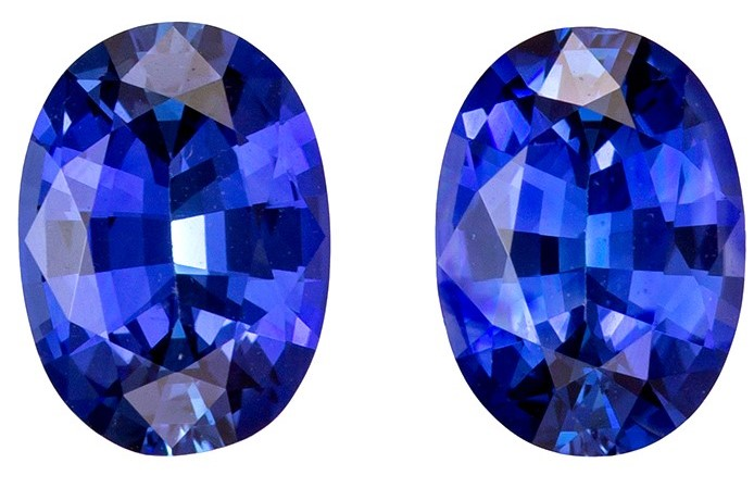 Very Special Gem 1.78 carats Sapphire Genuine Gemstone Pair in Oval Cut, Intense Blue, 7 x 5 mm