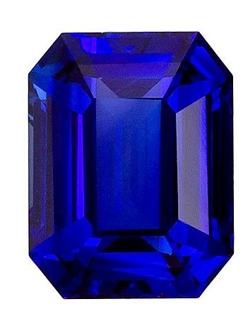 Very Special Gem 8 x 6.2 mm Sapphire Loose Genuine Gemstone in Emerald Cut, Medium Blue, 2.16 carats