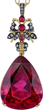 Very Unique 48 carat Fine Pink Tourmaline Hand Made Pendant With Pink Spinel & Diamond Accents in 18kt Gold - SOLD