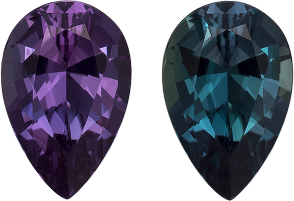 Vibrant Color Change Burgundy to Teal Alexandrite Loose Gem in Pear Cut, 7.4 x 4.9 mm, 0.79 Carats