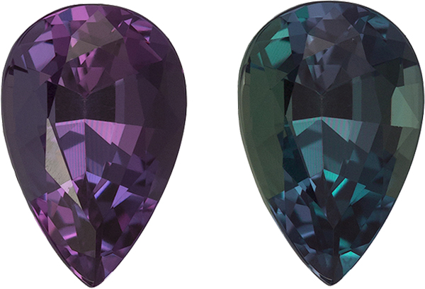 Vibrant Eggplant to Blue Green Alexandrite Brazilian Gem in Pear Cut, 6.9 x 4.6 mm, 0.72 Carats