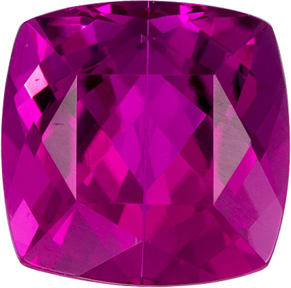 Vibrant Fuchsia Pink Brazilian Tourmaline Loose Gem in Antique Square Cut, 8.2 mm, 2.65 Carats