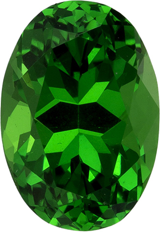 Vibrant Green Tsavorite Garnet Genuine Gem in Oval Cut, 7.2 x 5.0 mm, 1.08 Carats