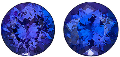 Vibrant Natural Blue Tanzanite Paired Matched Stones for SALE! Round cut, 3.42 carats