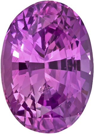 Vibrant Pink Purple Sapphire Loose Gem in Oval Cut, 7 x 5 mm, 1.08 Carats