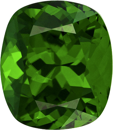 Vibrant Pure Green Tourmaline Loose Gem in Cushion Cut, 7.8 x 6.8 mm, 1.78 Carats