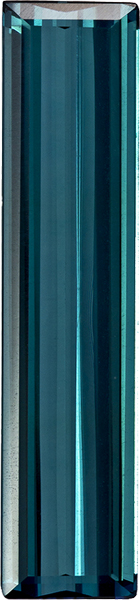Vibrant Teal Blue Tourmaline Loose Brazilian Gem in Emerald Cut, 23.1 x 5.3 mm, 3.77 Carats