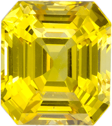 Vibrant Yellow Sapphire Natural Gemstone from Ceylon in Emerald Cut, 8.3 x 7.4 mm, 3.38 Carats - SOLD