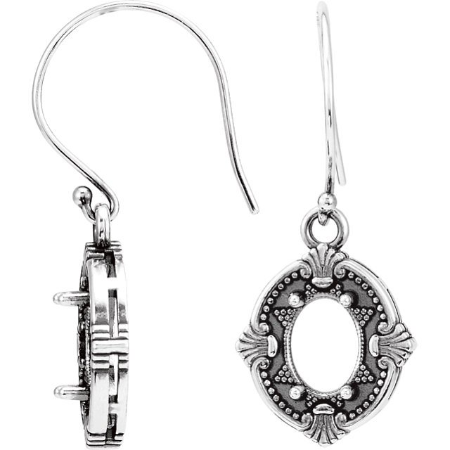 Victorian Style Wire Back Earring Mounting For Oval Shape Centergems Sized 8.00 x 6.00 mm - Customize Metal or Gem Type