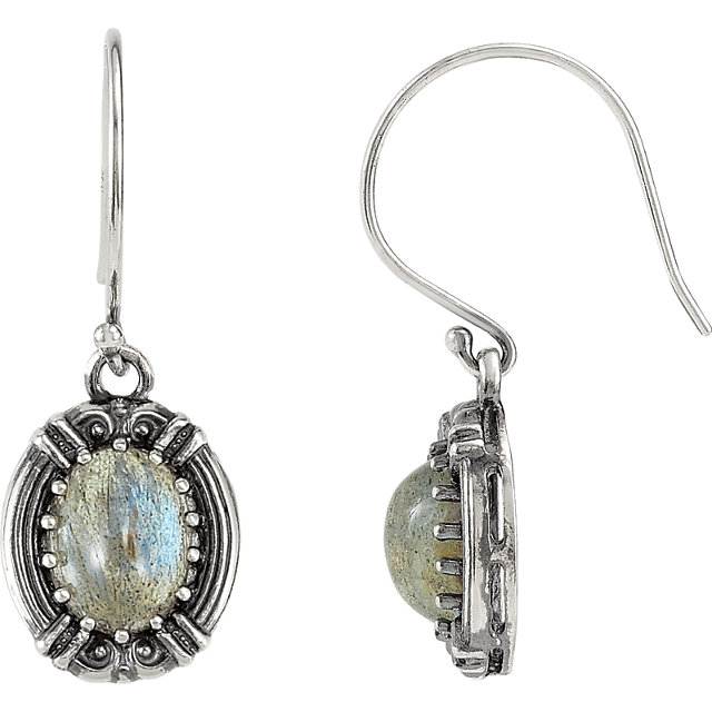 Victorian Style Wire Back Earring Mounting For Oval Shape Centergems Sized 9.00 x 7.00 mm - Customize Metal or Gem Type