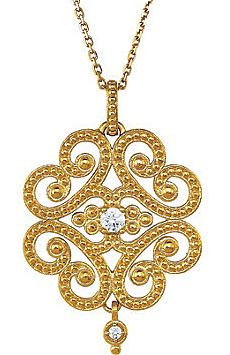 Vintage Chic Granulated Style 14k Yellow Gold Etruscan Pendant With 1/10ct Diamond Accents - FREE Chain Included With Pendant