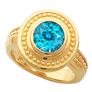 Vintage Chic Style 14k Gold Bezel Set Blue Zircon Fashion Ring With Ornate Beaded Look - SOLD