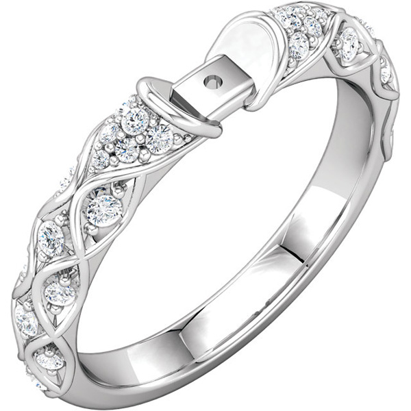 Vintage Style 1/4ctw Diamond Accented 14kt White Gold Preset Ring Shank With Curvy Detail