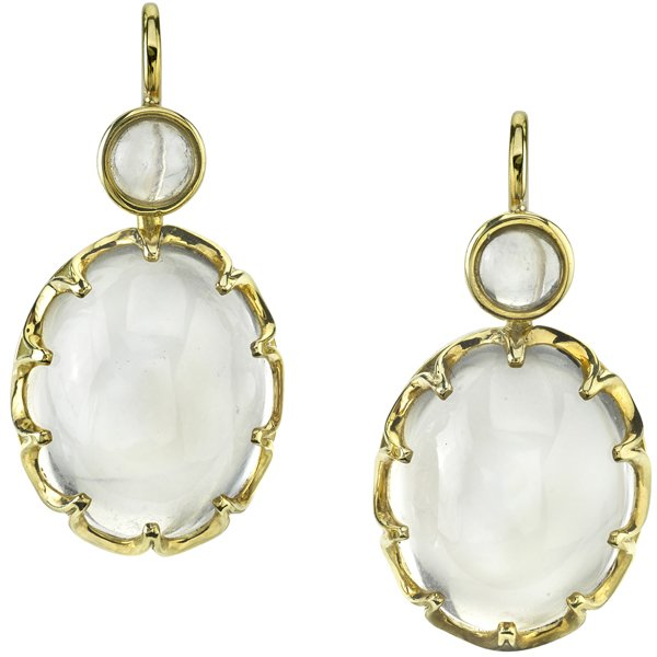 Vintage Style 18kt Yellow Gold Cabochon Moonstone Post Back Dangle Earrings - Handmade