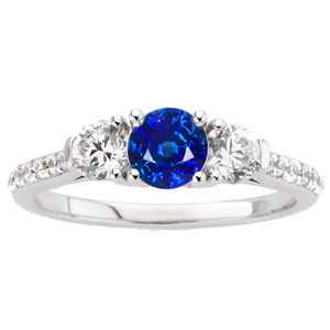Vivid Blue Beauty! - Genuine 1 carat 6mm Blue Sapphire Engagement Ring - Diamond Side Gems and Diamond Accents Along Band
