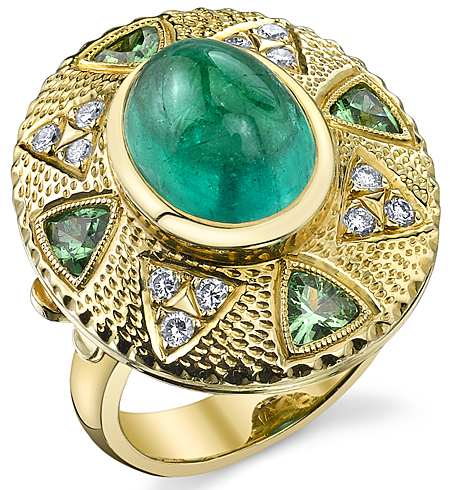 Vivid Electric Green Emerald Cabachon in Handmade Ring set with Tsavorite Trillions & Diamonds with Unique Hammer Finish - SOLD