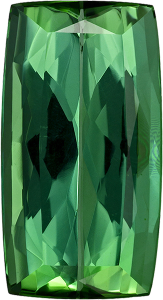 Vivid Grass Green Color in Tourmaline Gem in Cushion Cut, 16.6 x 9 mm, 7.42 carats