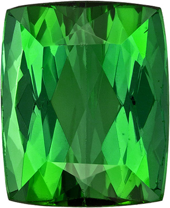 Vivid Grass Green Tourmaline Gem in Cushion Cut, 10.4 x 8.5 mm, 4.90 carats