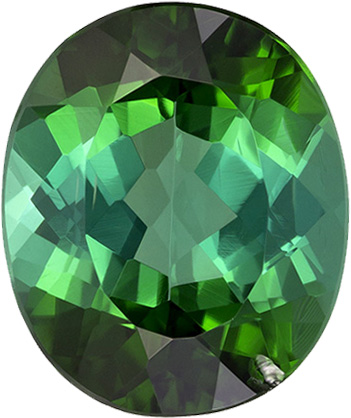 Vivid Green Tourmaline Gem in Oval Cut, 10.3 x 8.6 mm, 3.08 carats