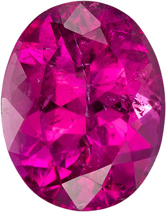 Vivid Hot Pink Color Tourmaline Gem in Oval Cut, 12.0 x 9.4 mm, 5.52 carats