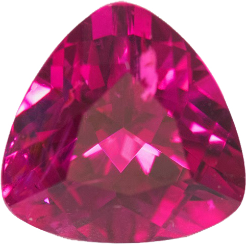 Vivid Hot Pink Tourmaline Gem in Trillion Cut, Stunning Color and German Cut in 10.1 mm, 3.67 carats