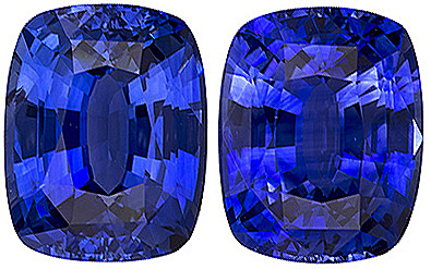 Vivid Intense Rich Blue Matched Pair of Ceylon Blue Sapphire - Excellent Clarity, Cut & Life, Antique Cushion Cut, 9.4 x 7.4 mm, 6.25 carats