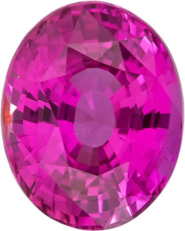 Vivid Pink Sapphire Natural Gem in Oval Cut, Striking Hot Pink Color, 9.6 x 7.7 mm, 3.48 Carats