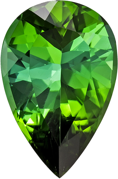 Vivid Pure Green Tourmaline Gem in Pear Cut, 13.7 x 9.1 mm, 4.12 carats