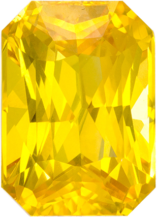 Vivid Rich Yellow Sapphire Gem in Radiant Cut, 8.3 x 6 mm, 2.46 carats