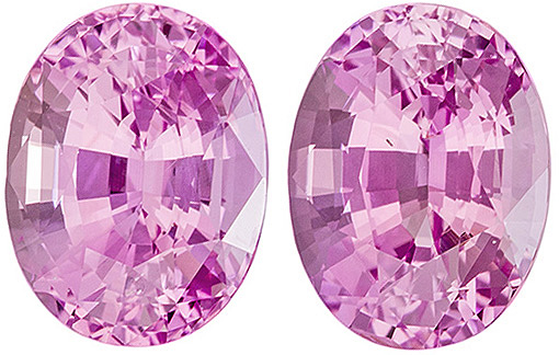 Vivid Sapphire Well Matched Pair in Oval Cut, Pure Pink, 6.8 x 5.2 mm, 2.38 carats
