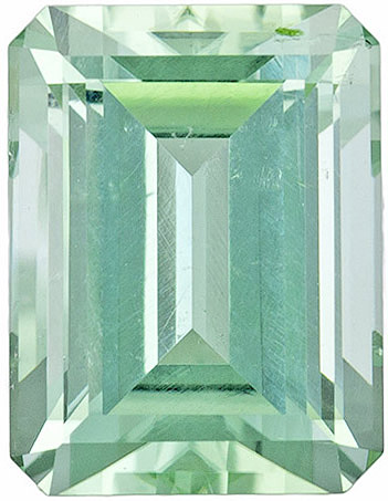 Vivid Soft Sea Foam Blue Green Tourmaline, 9.1 x 7 mm, Emerald Cut, 2.9 carats