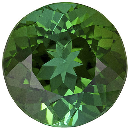 Vivid Tourmaline Loose Gemstone in Round Cut, Medium Green, 7.7 mm, 2.03 carats
